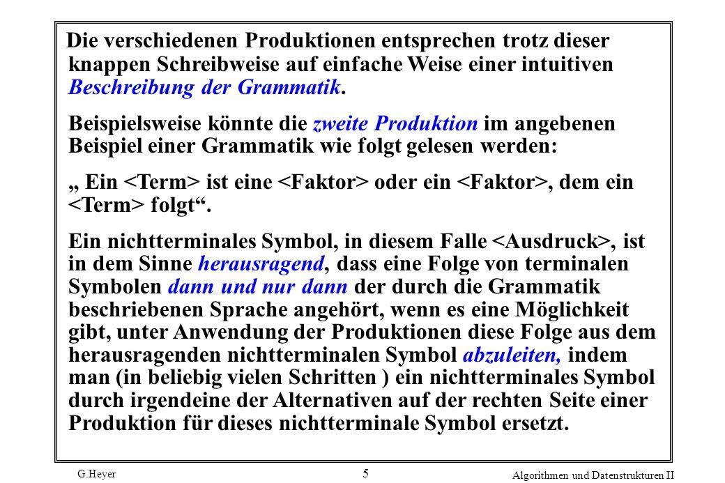 G.Heyer Algorithmen und Datenstrukturen II 16 Prozedur Faktor factor () { if ( p[j] == ( ) { j++ ; expression() ; if ( p[j] == ) ) j++; else error(); } else if ( letter ( p[j] ) ) j++ ; else error(); if ( p[j] == * ) j++ ; } Eine weitere Fehlerbedingung tritt auf, wenn eine Klammer ) fehlt.