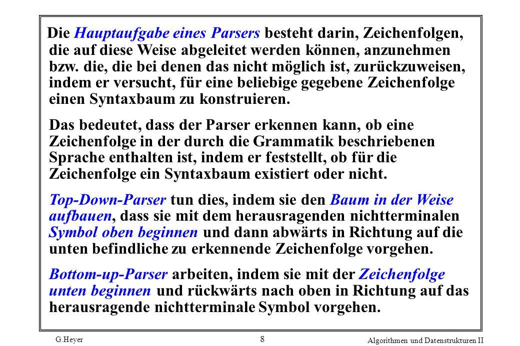 G.Heyer Algorithmen und Datenstrukturen II 8 Die Hauptaufgabe eines Parsers besteht darin, Zeichenfolgen, die auf diese Weise abgeleitet werden können