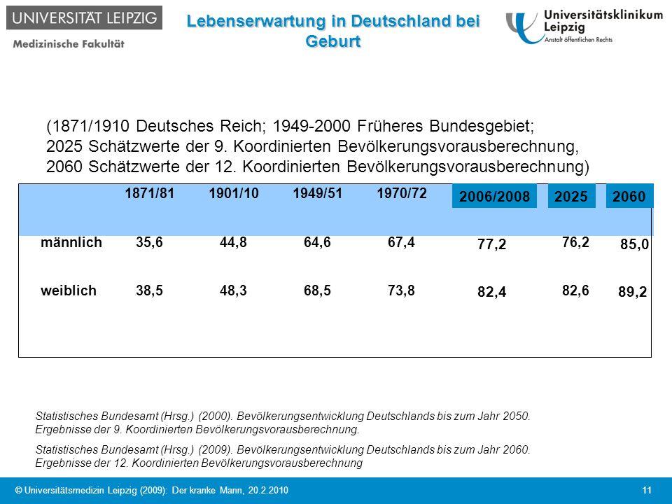 © Universitätsmedizin Leipzig (2009): Der kranke Mann, 20.2.2010 11 Lebenserwartung in Deutschland bei Geburt 1871/811901/101949/511970/722005/2007202