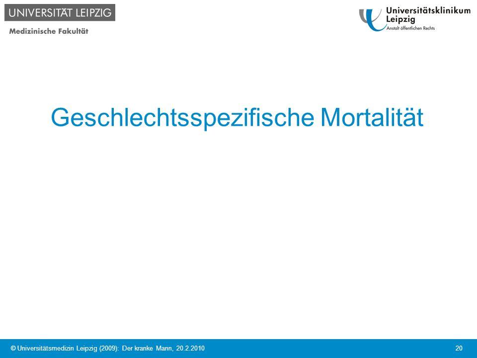 © Universitätsmedizin Leipzig (2009): Der kranke Mann, 20.2.2010 20 Geschlechtsspezifische Mortalität