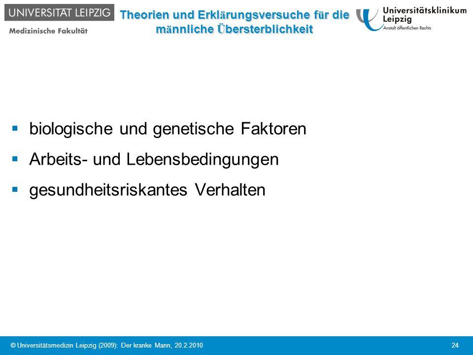© Universitätsmedizin Leipzig (2009): Der kranke Mann, 20.2.2010 24 Theorien und Erkl ä rungsversuche f ü r die m ä nnliche Ü bersterblichkeit biologi