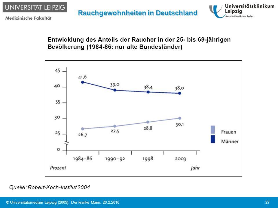 © Universitätsmedizin Leipzig (2009): Der kranke Mann, 20.2.2010 27 Rauchgewohnheiten in Deutschland Entwicklung des Anteils der Raucher in der 25- bi