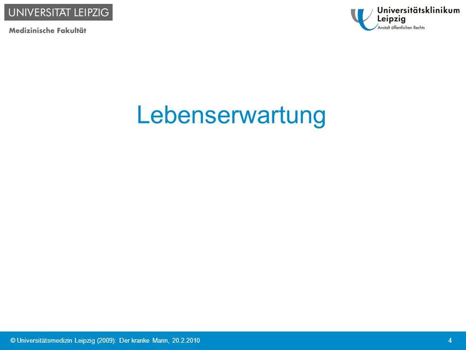 © Universitätsmedizin Leipzig (2009): Der kranke Mann, 20.2.2010 5 Lebenserwartung bei Geburt Quelle: Daten des Gesundheitswesens 1997, 1999, 2001 / Statistisches Bundesamt 2009 2006/2008 M 77, 4 W 82,5 M 76,1 M 82,2