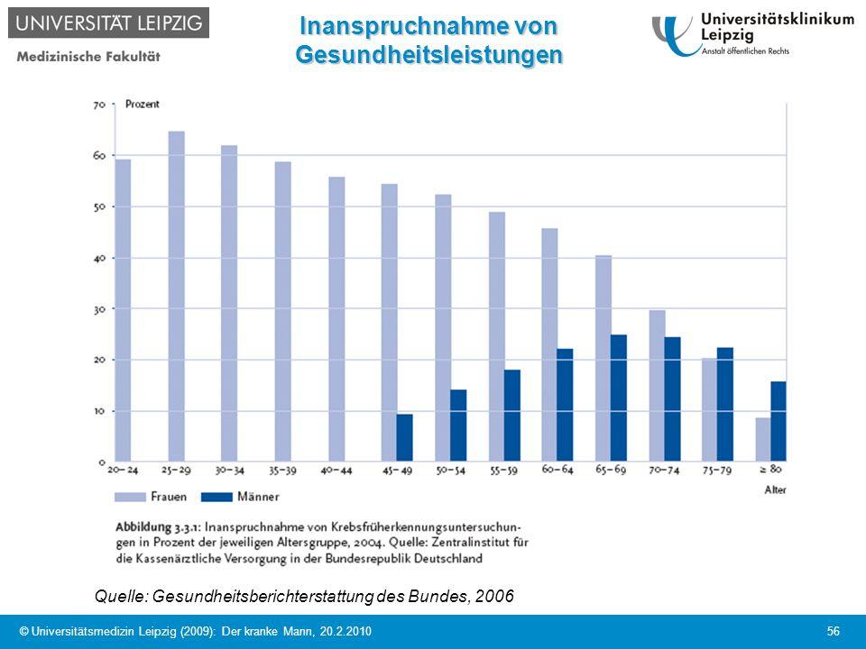 © Universitätsmedizin Leipzig (2009): Der kranke Mann, 20.2.2010 56 Inanspruchnahme von Gesundheitsleistungen Quelle: Gesundheitsberichterstattung des