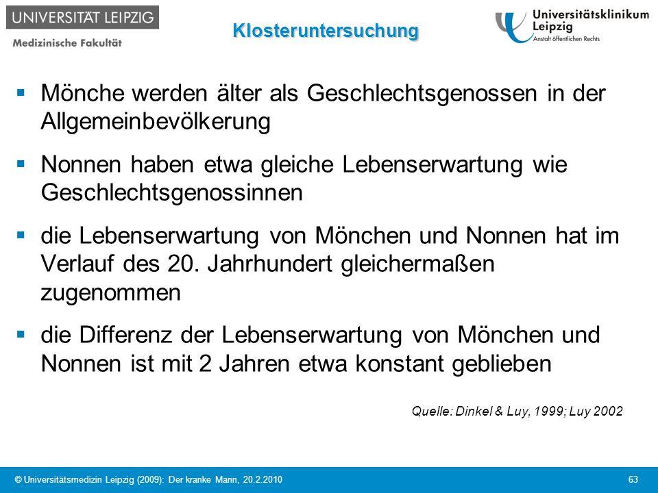© Universitätsmedizin Leipzig (2009): Der kranke Mann, 20.2.2010 63Klosteruntersuchung Mönche werden älter als Geschlechtsgenossen in der Allgemeinbev
