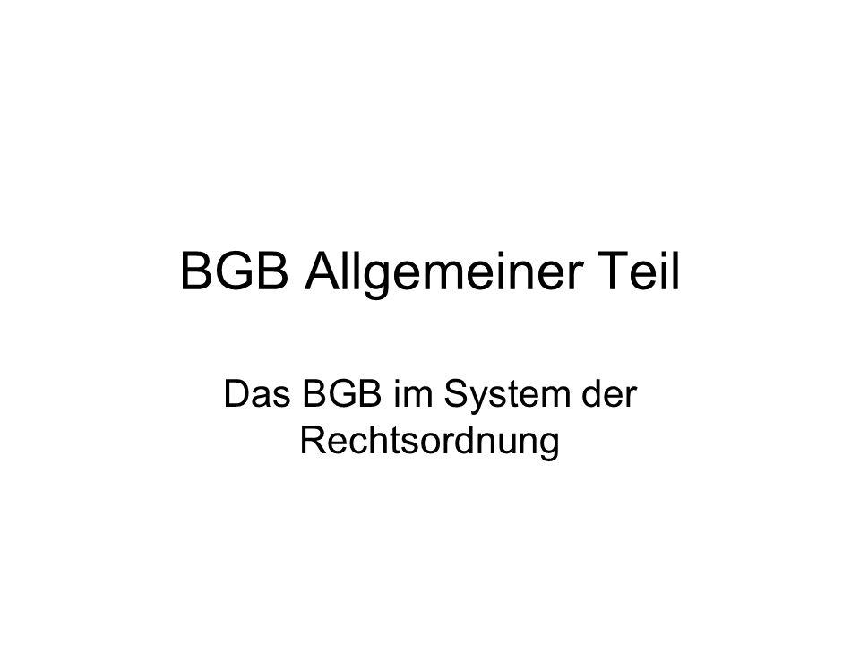 BGB Allgemeiner Teil Das BGB im System der Rechtsordnung