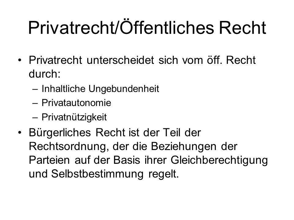 Privatrecht/Öffentliches Recht Privatrecht unterscheidet sich vom öff. Recht durch: –Inhaltliche Ungebundenheit –Privatautonomie –Privatnützigkeit Bür
