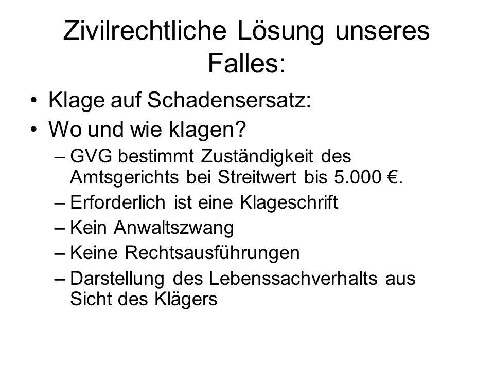Zivilrechtliche Lösung unseres Falles: Klage auf Schadensersatz: Wo und wie klagen? –GVG bestimmt Zuständigkeit des Amtsgerichts bei Streitwert bis 5.