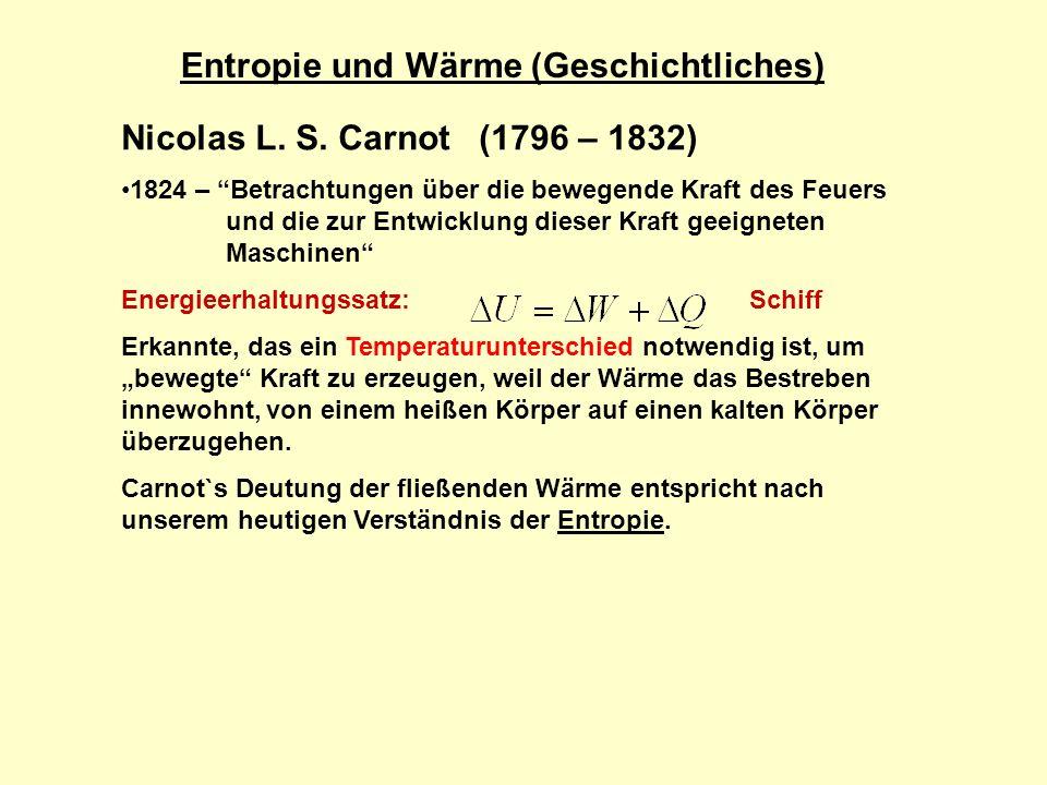 Entropie und Wärme (Geschichtliches) Nicolas L.S.