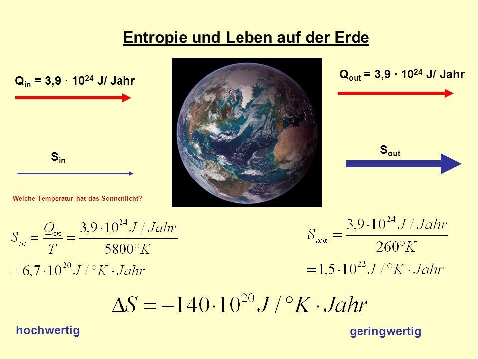 Entropie und Leben auf der Erde Q in = 3,9 · 10 24 J/ Jahr Q out = 3,9 · 10 24 J/ Jahr S in S out hochwertig geringwertig Welche Temperatur hat das Sonnenlicht?