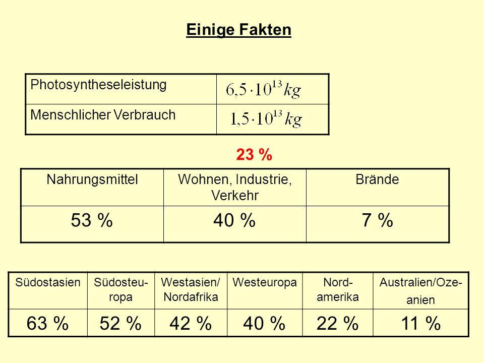 Einige Fakten Photosyntheseleistung Menschlicher Verbrauch 23 % NahrungsmittelWohnen, Industrie, Verkehr Brände 53 %40 %7 % SüdostasienSüdosteu- ropa Westasien/ Nordafrika WesteuropaNord- amerika Australien/Oze- anien 63 %52 %42 %40 %22 %11 %