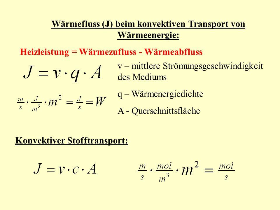 v – mittlere Strömungsgeschwindigkeit des Mediums q – Wärmenergiedichte A - Querschnittsfläche Wärmefluss (J) beim konvektiven Transport von Wärmeenergie: Heizleistung = Wärmezufluss - Wärmeabfluss Konvektiver Stofftransport: