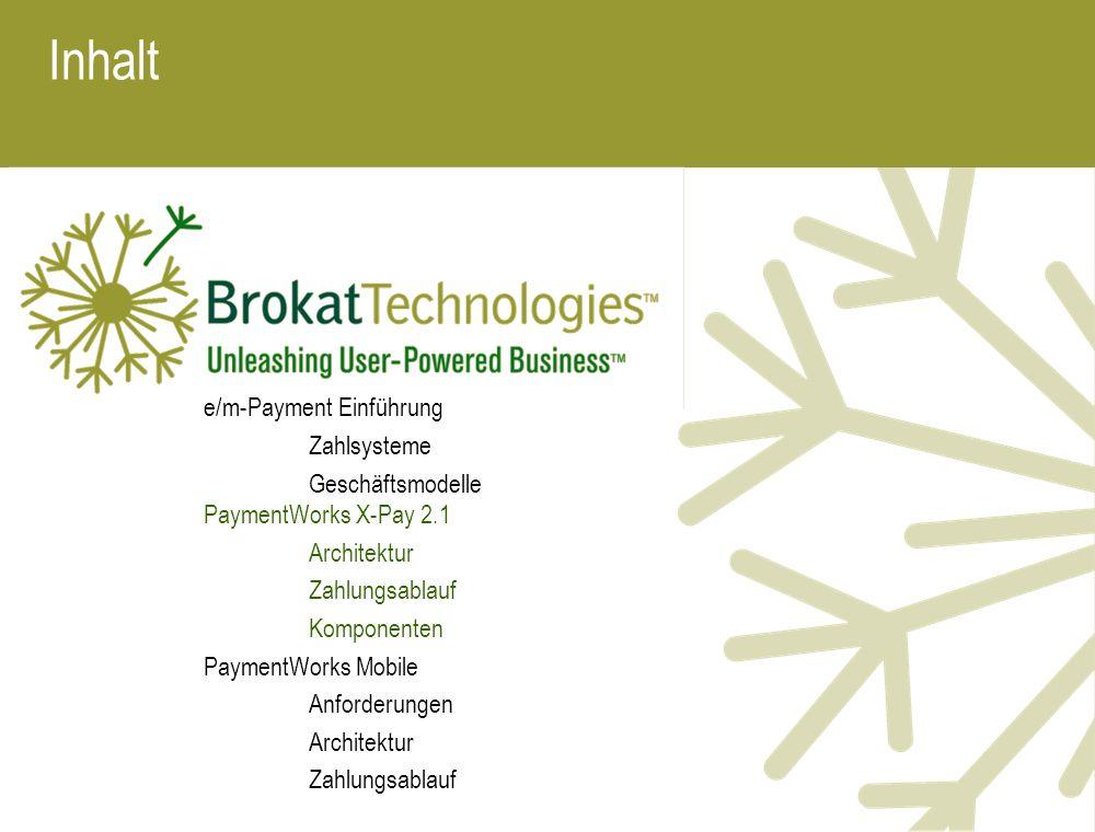 Inhalt e/m-Payment Einführung Zahlsysteme Geschäftsmodelle PaymentWorks X-Pay 2.1 Architektur Zahlungsablauf Komponenten PaymentWorks Mobile Anforderu