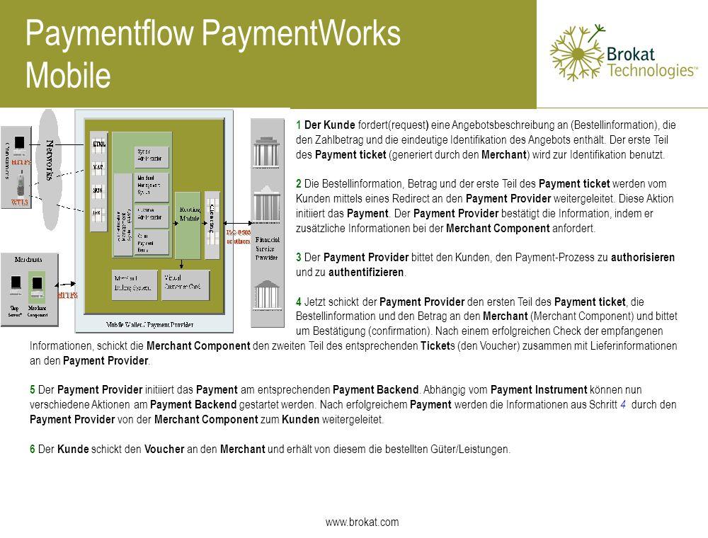 www.brokat.com Paymentflow PaymentWorks Mobile 1 Der Kunde fordert(request ) eine Angebotsbeschreibung an (Bestellinformation), die den Zahlbetrag und