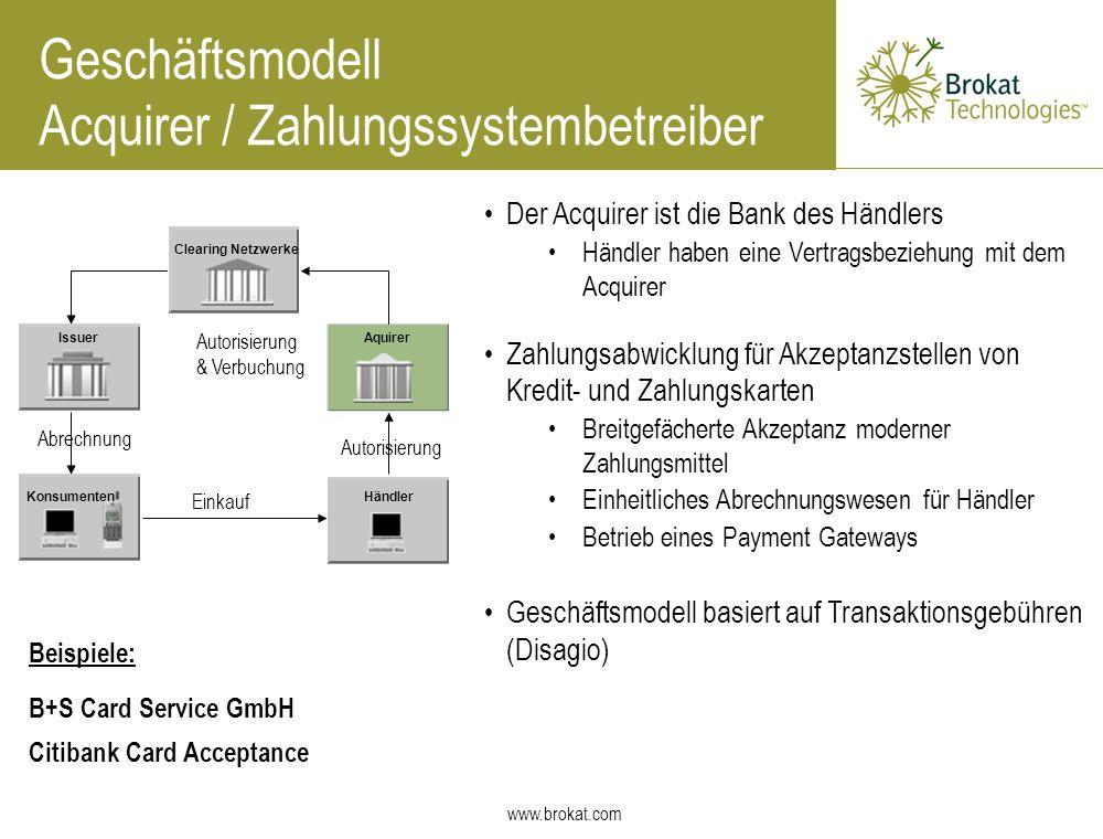 www.brokat.com Geschäftsmodell Acquirer / Zahlungssystembetreiber Der Acquirer ist die Bank des Händlers Händler haben eine Vertragsbeziehung mit dem