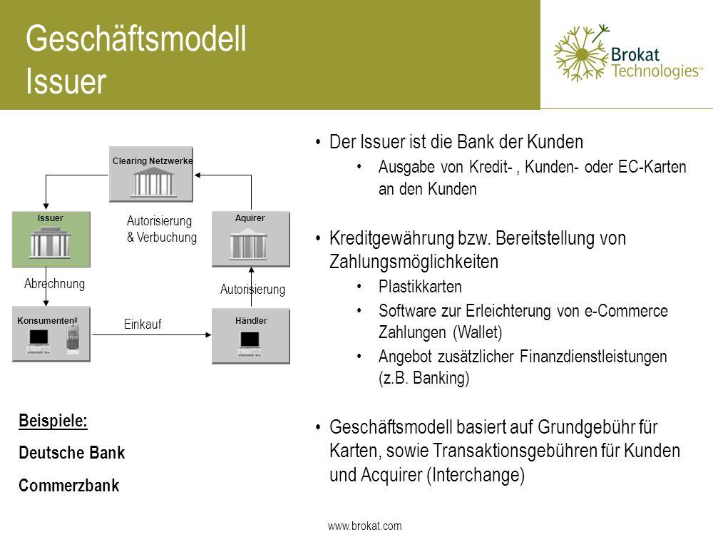 www.brokat.com Geschäftsmodell Issuer Der Issuer ist die Bank der Kunden Ausgabe von Kredit-, Kunden- oder EC-Karten an den Kunden Kreditgewährung bzw