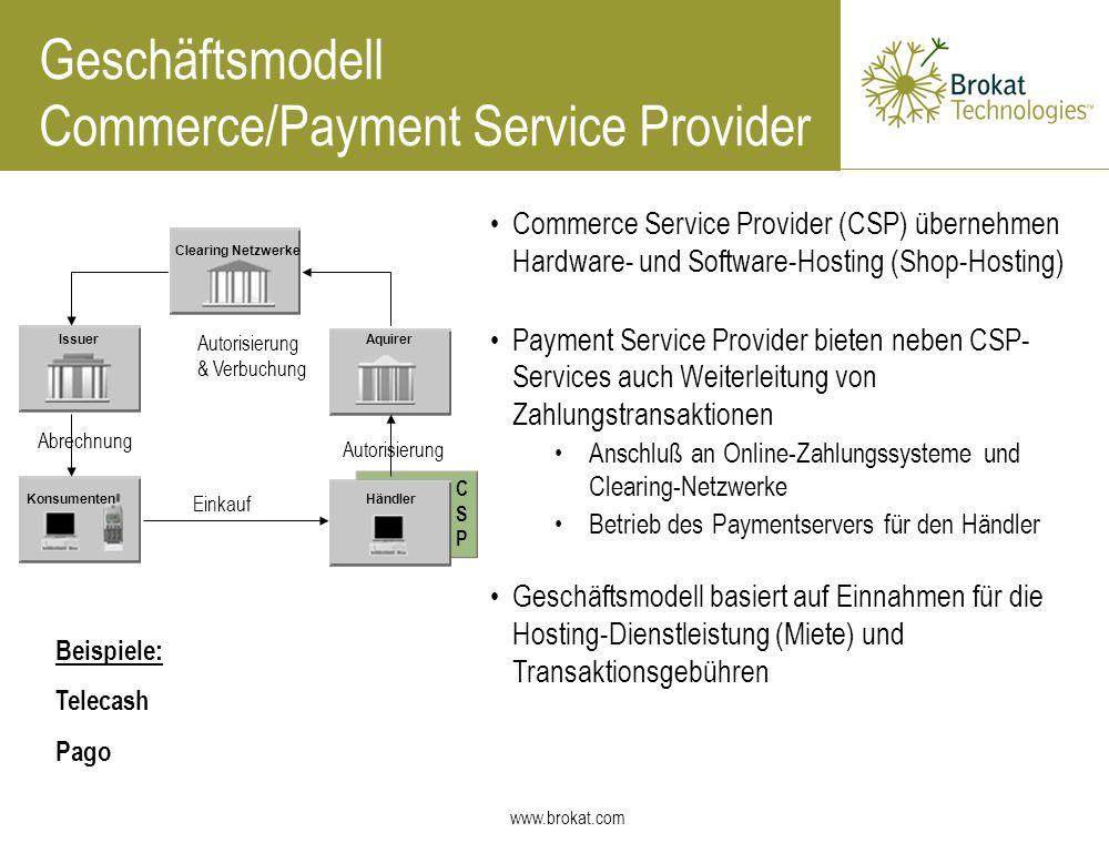 www.brokat.com Commerce Service Provider (CSP) übernehmen Hardware- und Software-Hosting (Shop-Hosting) Payment Service Provider bieten neben CSP- Ser