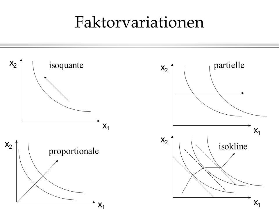 Faktorvariationen x1x1 x2x2 x1x1 x2x2 x1x1 x2x2 x1x1 x2x2 isoquante proportionale partielle isokline