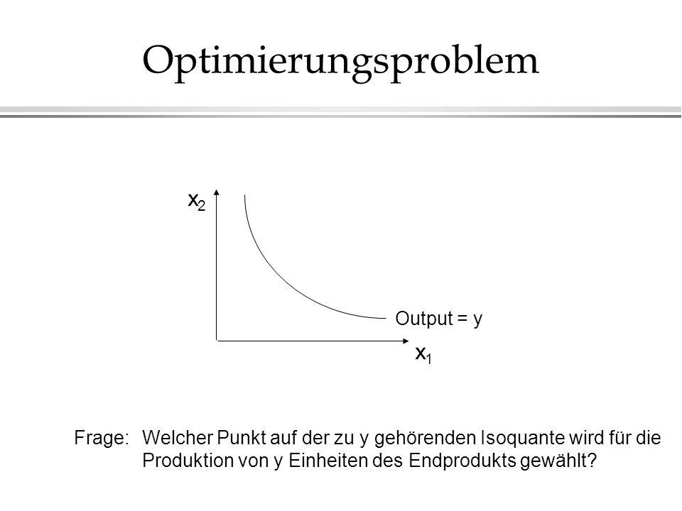 Optimierungsproblem x1x1 x2x2 Frage: Welcher Punkt auf der zu y gehörenden Isoquante wird für die Produktion von y Einheiten des Endprodukts gewählt?