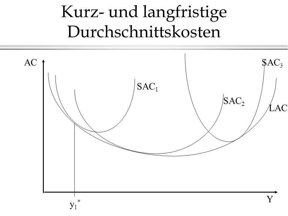 Kurz- und langfristige Durchschnittskosten AC Y LAC SAC 1 SAC 3 SAC 2 y1*y1*