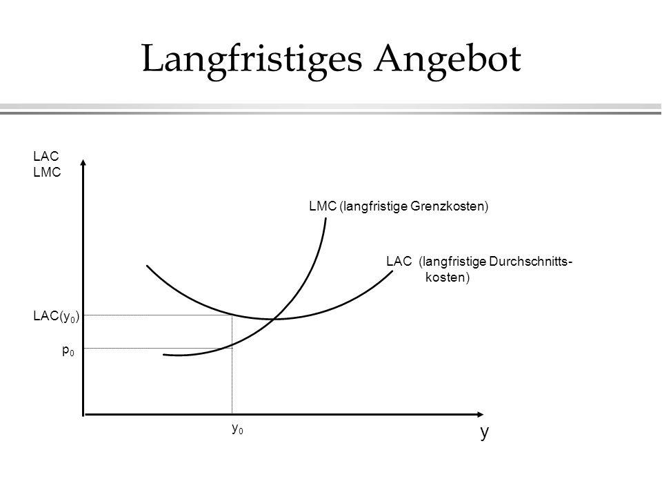 Langfristiges Angebot y LAC LMC LAC (langfristige Durchschnitts- kosten) LMC (langfristige Grenzkosten) p0p0 y0y0 LAC(y 0 )