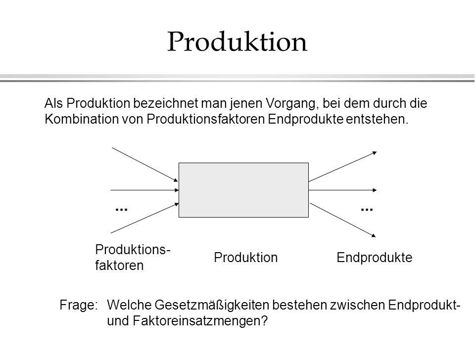 Angebotsfunktion l Die Angebotsfunktion gibt an, wieviele Einheiten des End- produktes bei einem bestimmten Preis hergestellt und verkauft werden sollen, in Zeichen: y = S(p).