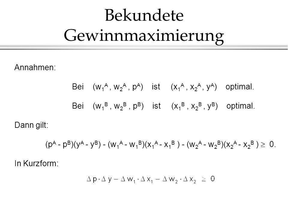 Bekundete Gewinnmaximierung Annahmen: Bei (w 1 A, w 2 A, p A ) ist (x 1 A, x 2 A, y A ) optimal. Bei (w 1 B, w 2 B, p B ) ist (x 1 B, x 2 B, y B ) opt