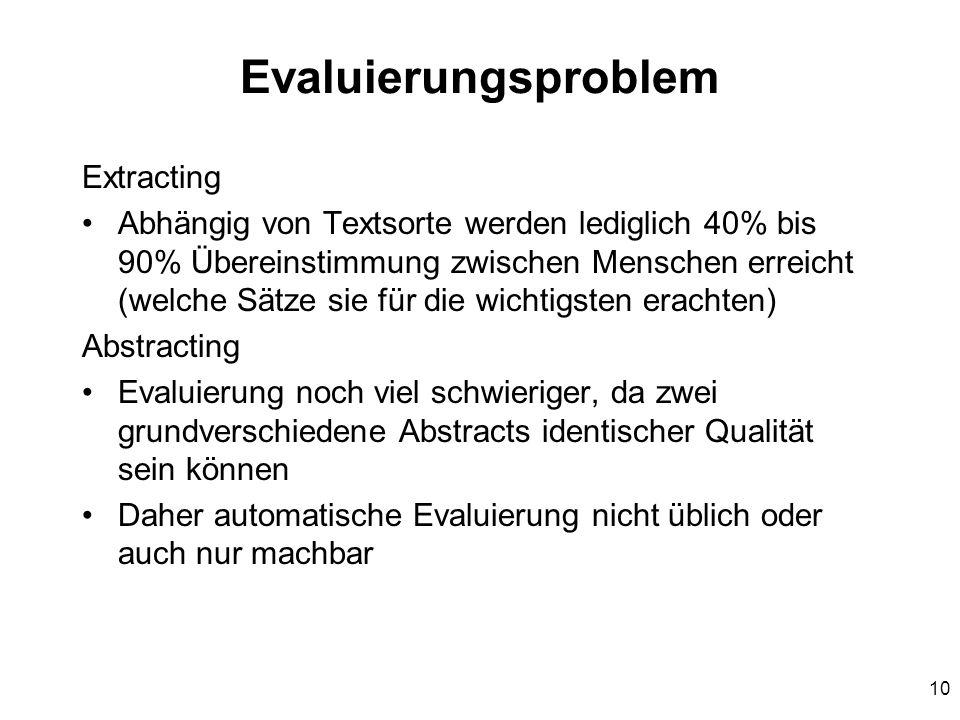 10 Evaluierungsproblem Extracting Abhängig von Textsorte werden lediglich 40% bis 90% Übereinstimmung zwischen Menschen erreicht (welche Sätze sie für