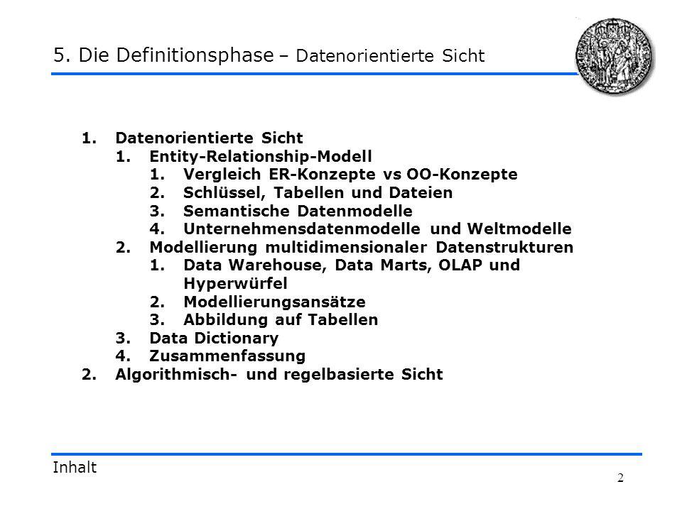 2 1.Datenorientierte Sicht 1.Entity-Relationship-Modell 1.Vergleich ER-Konzepte vs OO-Konzepte 2.Schlüssel, Tabellen und Dateien 3.Semantische Datenmo