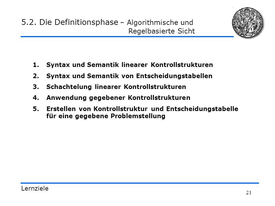 21 1.Syntax und Semantik linearer Kontrollstrukturen 2.Syntax und Semantik von Entscheidungstabellen 3.Schachtelung linearer Kontrollstrukturen 4.Anwe