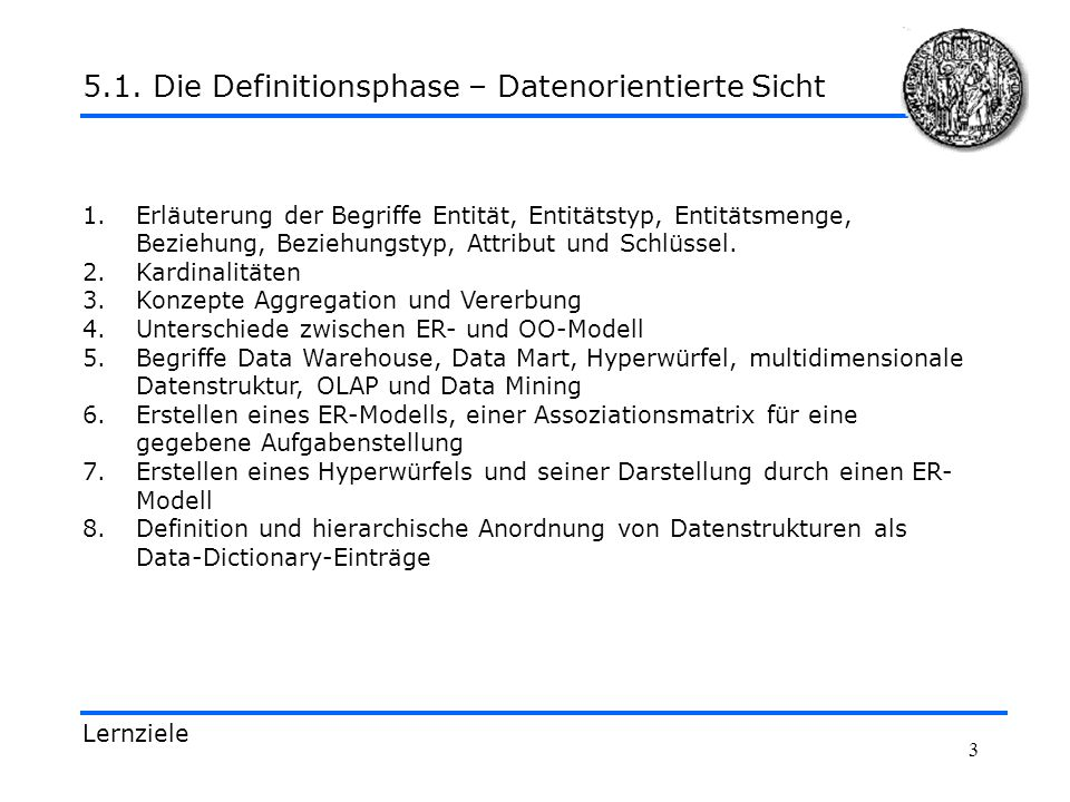 14 Definitionen und Zusammenhänge 5.1.2.1.Die Definitionsphase – Data Warehouse, Data Marts,...