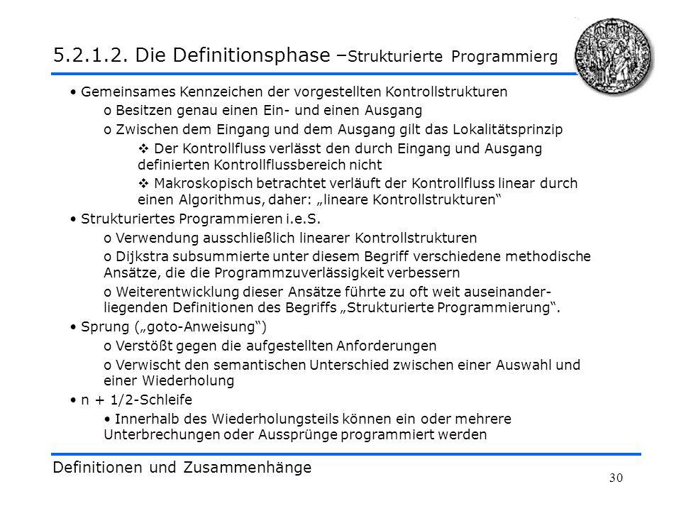 30 Definitionen und Zusammenhänge 5.2.1.2. Die Definitionsphase – Strukturierte Programmierg Gemeinsames Kennzeichen der vorgestellten Kontrollstruktu