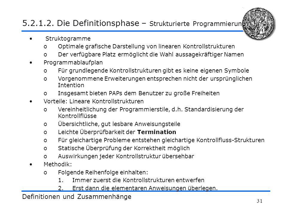 31 Definitionen und Zusammenhänge 5.2.1.2. Die Definitionsphase – Strukturierte Programmierung Struktogramme oOptimale grafische Darstellung von linea