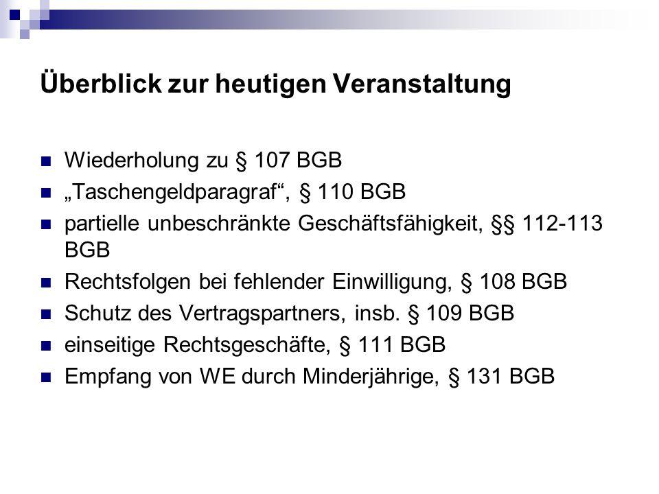 einseitige Rechtsgeschäfte, § 111 BGB (Beispielsfall (Bork, BGB AT, Rz.