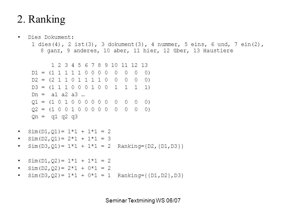 Seminar Textmining WS 06/07 2.