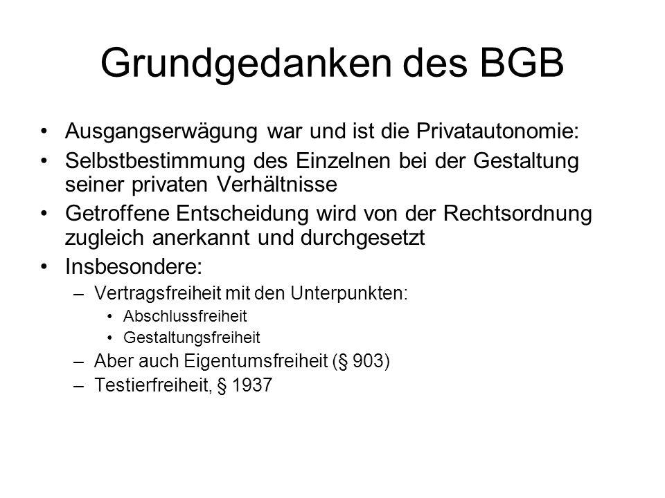 Grundgedanken des BGB Ausgangserwägung war und ist die Privatautonomie: Selbstbestimmung des Einzelnen bei der Gestaltung seiner privaten Verhältnisse
