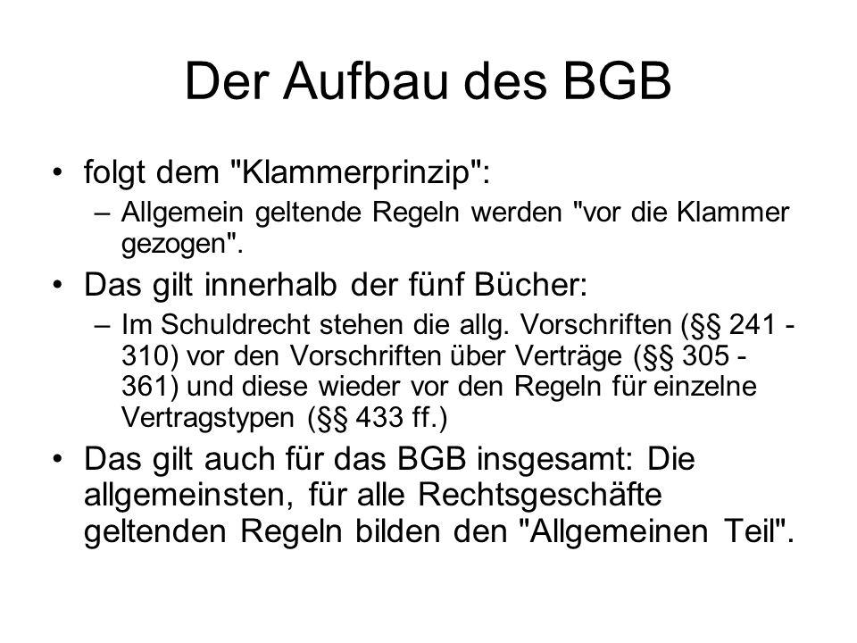 Der Aufbau des BGB folgt dem