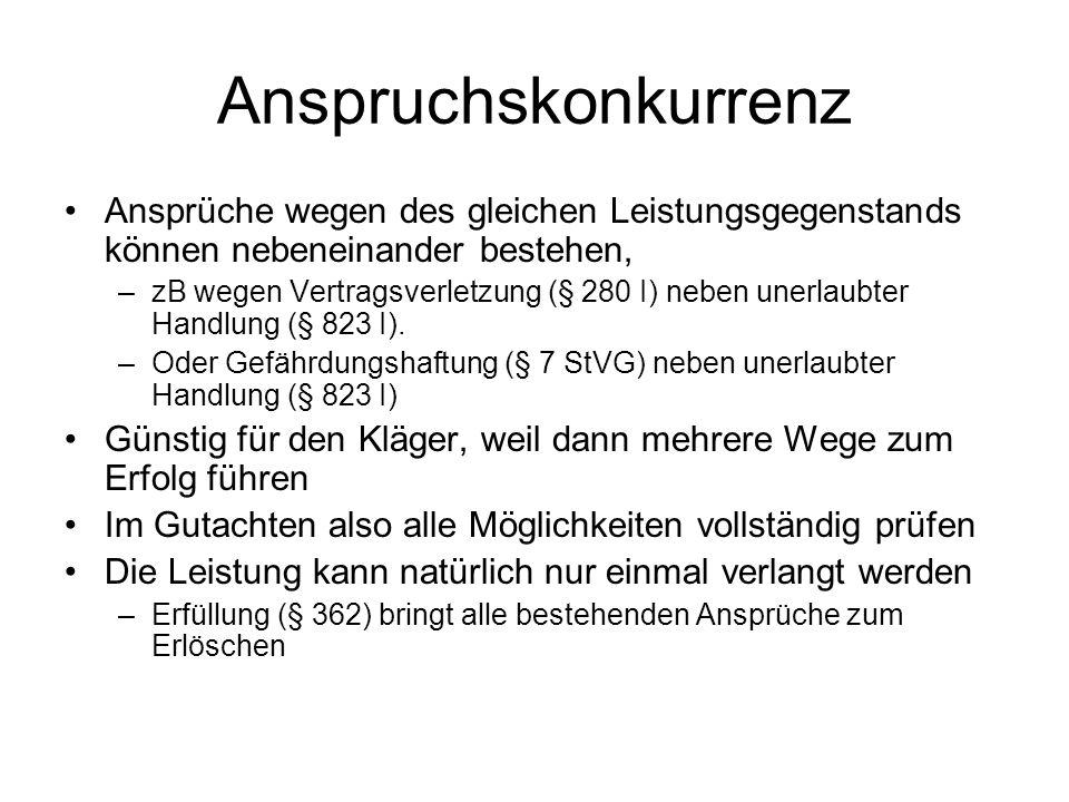 Anspruchskonkurrenz Ansprüche wegen des gleichen Leistungsgegenstands können nebeneinander bestehen, –zB wegen Vertragsverletzung (§ 280 I) neben uner
