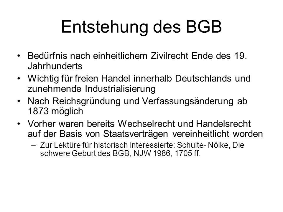 Entstehung des BGB Bedürfnis nach einheitlichem Zivilrecht Ende des 19. Jahrhunderts Wichtig für freien Handel innerhalb Deutschlands und zunehmende I