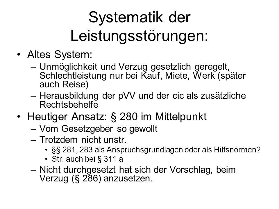 Systematik der Leistungsstörungen: Altes System: –Unmöglichkeit und Verzug gesetzlich geregelt, Schlechtleistung nur bei Kauf, Miete, Werk (später auc