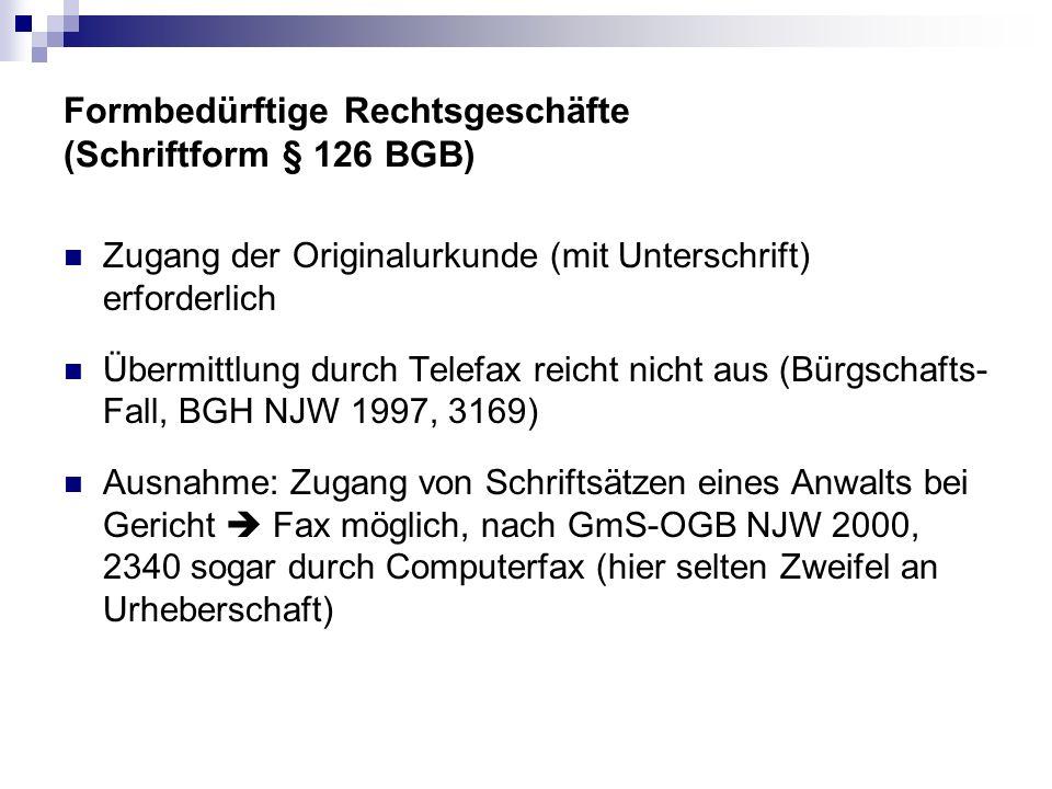 Formbedürftige Rechtsgeschäfte (Schriftform § 126 BGB) Zugang der Originalurkunde (mit Unterschrift) erforderlich Übermittlung durch Telefax reicht ni