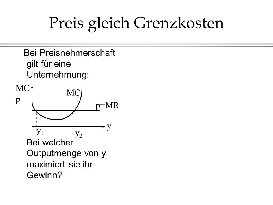 Preis gleich Grenzkosten Bei Preisnehmerschaft gilt für eine Unternehmung: Bei welcher Outputmenge von y maximiert sie ihr Gewinn? p=MR MC y y1y1 y2y2