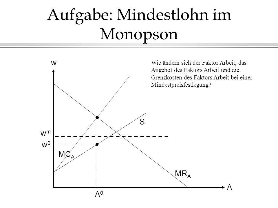 Aufgabe: Mindestlohn im Monopson MR A w0w0 A0A0 A w wmwm MC A S Wie ändern sich der Faktor Arbeit, das Angebot des Faktors Arbeit und die Grenzkosten