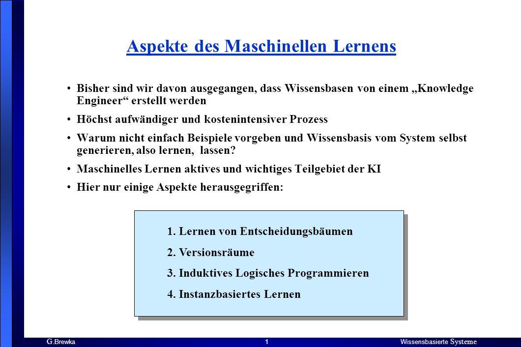 G. BrewkaWissensbasierte Systeme 1 Aspekte des Maschinellen Lernens Bisher sind wir davon ausgegangen, dass Wissensbasen von einem Knowledge Engineer