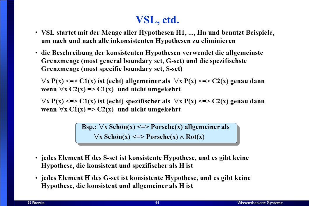G. BrewkaWissensbasierte Systeme 11 VSL startet mit der Menge aller Hypothesen H1,..., Hn und benutzt Beispiele, um nach und nach alle inkonsistenten