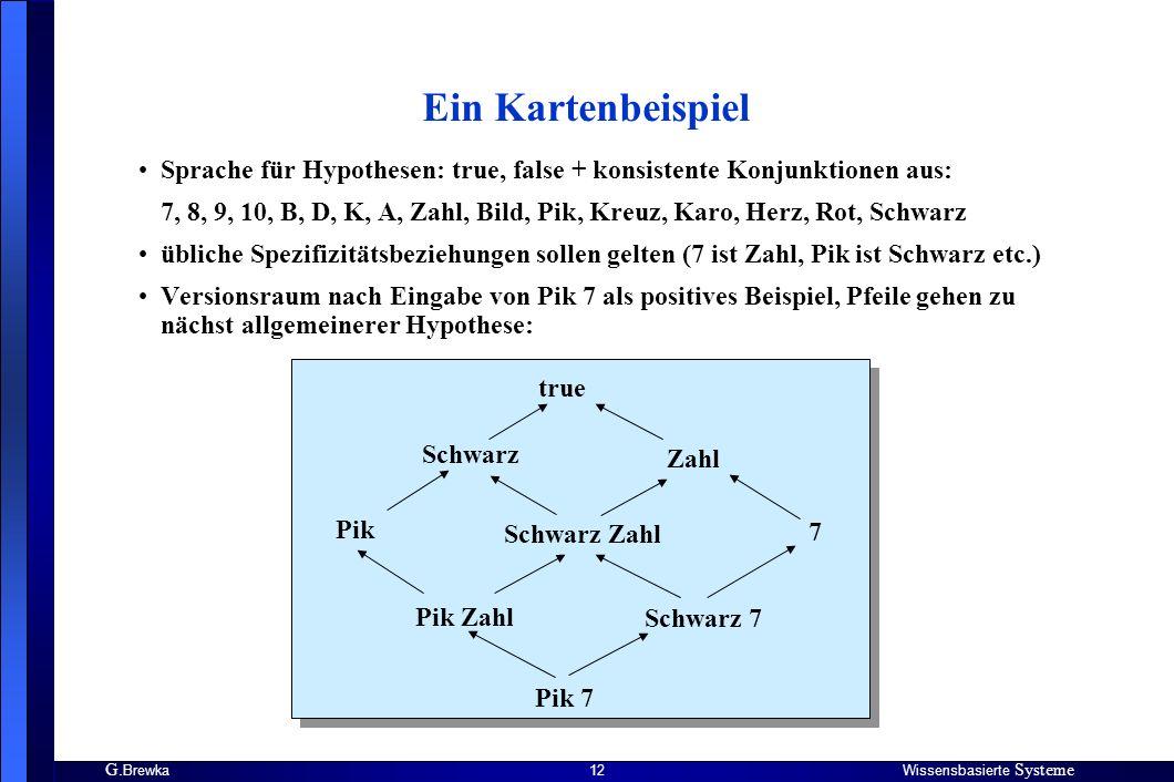 G. BrewkaWissensbasierte Systeme 12 Ein Kartenbeispiel Sprache für Hypothesen: true, false + konsistente Konjunktionen aus: 7, 8, 9, 10, B, D, K, A, Z