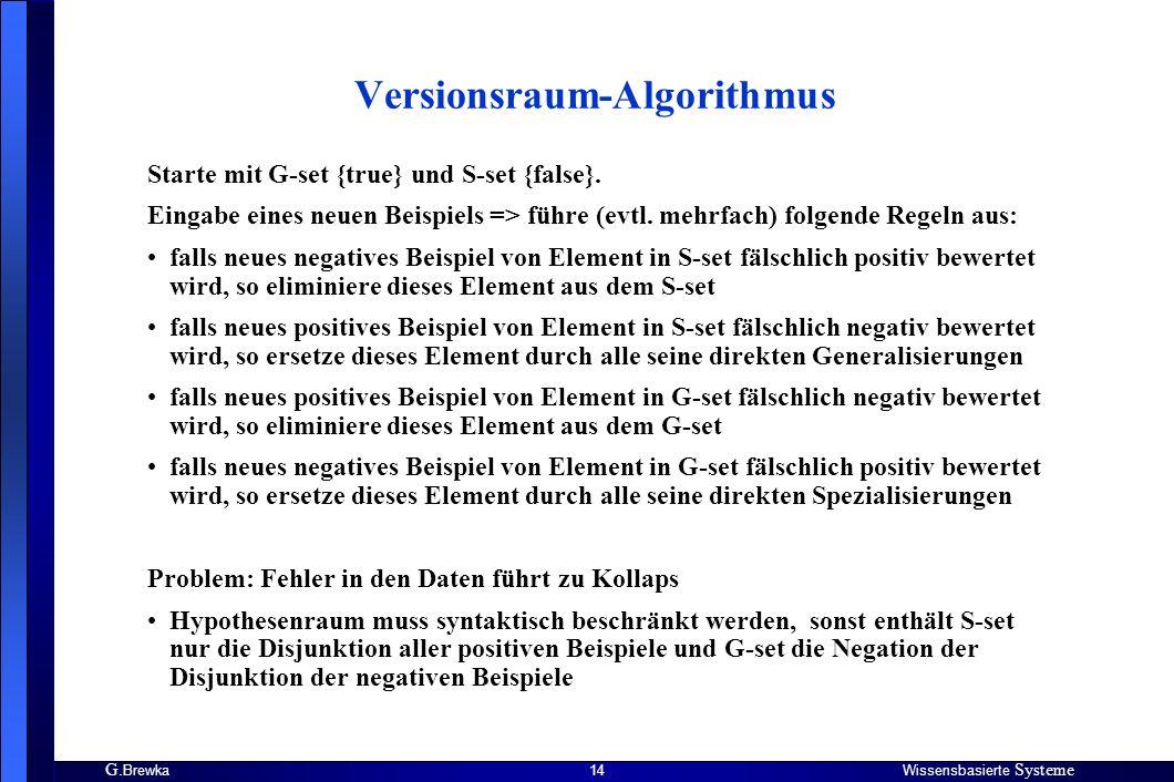 G. BrewkaWissensbasierte Systeme 14 Versionsraum-Algorithmus Starte mit G-set {true} und S-set {false}. Eingabe eines neuen Beispiels => führe (evtl.
