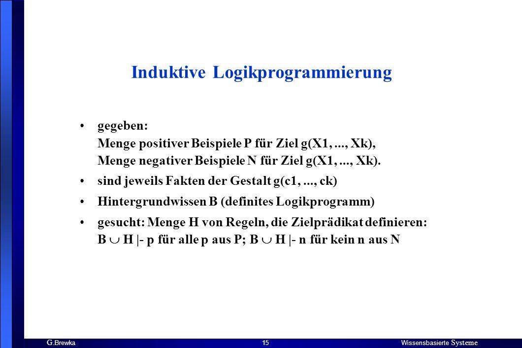 G. BrewkaWissensbasierte Systeme 15 Induktive Logikprogrammierung gegeben: Menge positiver Beispiele P für Ziel g(X1,..., Xk), Menge negativer Beispie