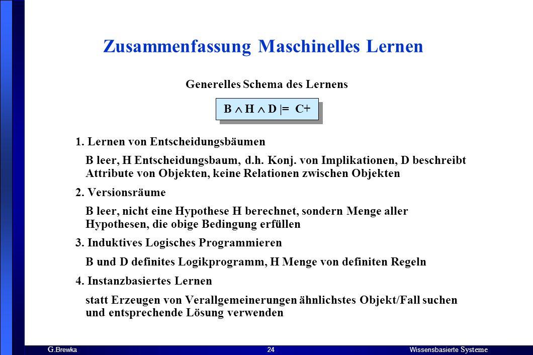 G. BrewkaWissensbasierte Systeme 24 Zusammenfassung Maschinelles Lernen B H D |= C+ Generelles Schema des Lernens 1. Lernen von Entscheidungsbäumen B