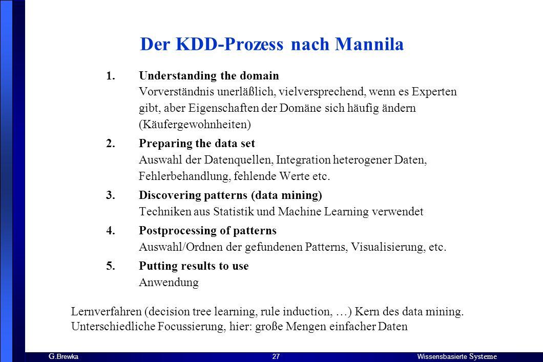 G. BrewkaWissensbasierte Systeme 27 Der KDD-Prozess nach Mannila 1.Understanding the domain Vorverständnis unerläßlich, vielversprechend, wenn es Expe